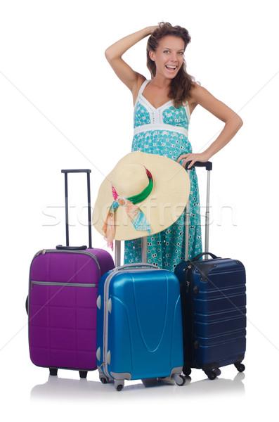 женщину чемодан изолированный белый девушки Сток-фото © Elnur