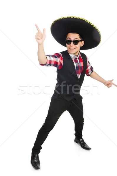 Engraçado mexicano sombrero mão feliz retro Foto stock © Elnur