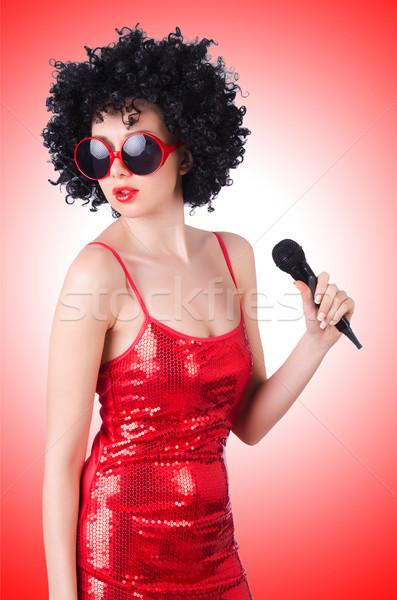 Zdjęcia stock: Pop · star · czerwona · sukienka · biały · dziewczyna · strony