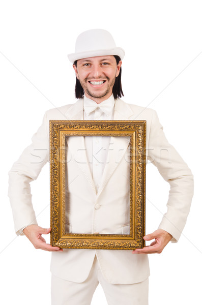 Man in white costume with picture frame Stock photo © Elnur
