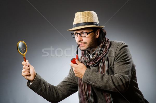 Komik dedektif sigara içme boru göz Stok fotoğraf © Elnur