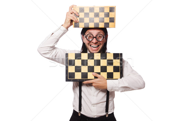 Nerd chess player isolated on white Stock photo © Elnur