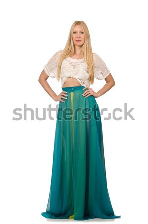 Young woman in gentle blue dress isolated on white Stock photo © Elnur