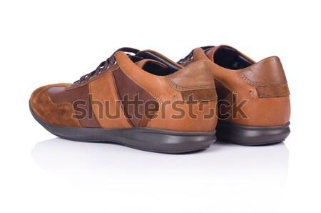 Stockfoto: Bruin · schoenen · geïsoleerd · witte · sport · fitness