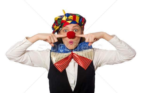 Stock photo: Pretty female clown isolated on white