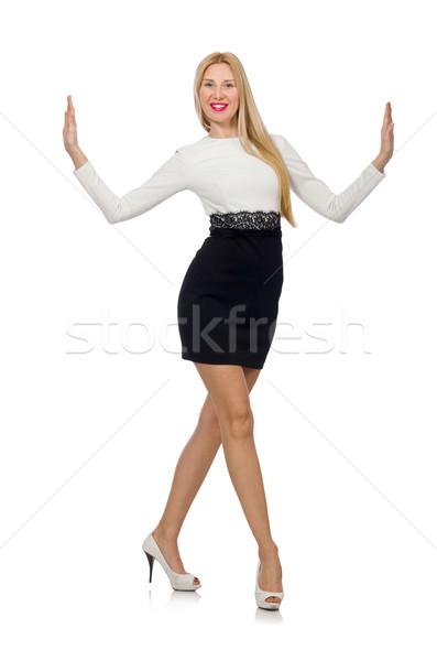 Pretty woman in black and white dress isolated on white Stock photo © Elnur