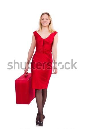 女性 赤いドレス 旅行 場合 孤立した 白 ストックフォト © Elnur