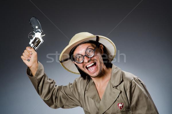 Komik safari avcı doğa oyun erkek Stok fotoğraf © Elnur
