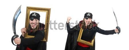 Een piraat zwaard geïsoleerd witte man Stockfoto © Elnur
