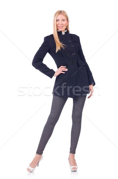 женщину темно пальто изолированный белый счастливым Сток-фото © Elnur