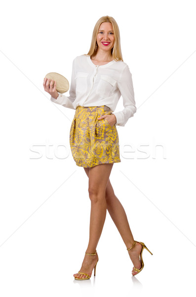 Nő táska divat boldog ruházat fehér Stock fotó © Elnur