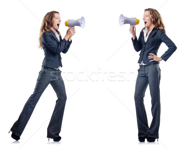 üzletasszony hangfal fehér iroda lány munka Stock fotó © Elnur