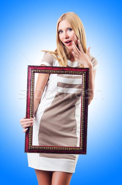 Mulher quadro de imagem branco menina cara madeira Foto stock © Elnur
