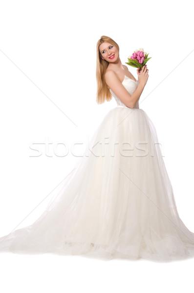 Vrouw trouwjurk geïsoleerd witte meisje mode Stockfoto © Elnur