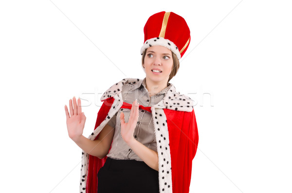Pretty woman wearing crown and red coat isolated on white Stock photo © Elnur