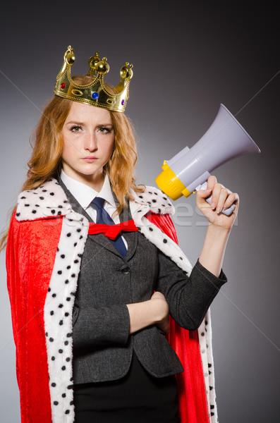 Foto stock: Rainha · empresário · alto-falante · engraçado · mulher · trabalhar
