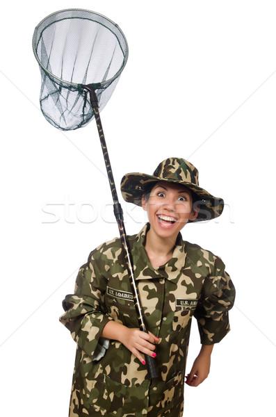 Kobieta wojskowych odzież netto wiosną uśmiech Zdjęcia stock © Elnur