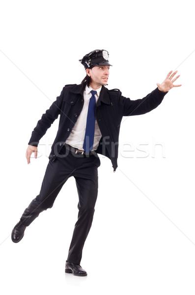 Policial isolado branco pistola lei polícia Foto stock © Elnur