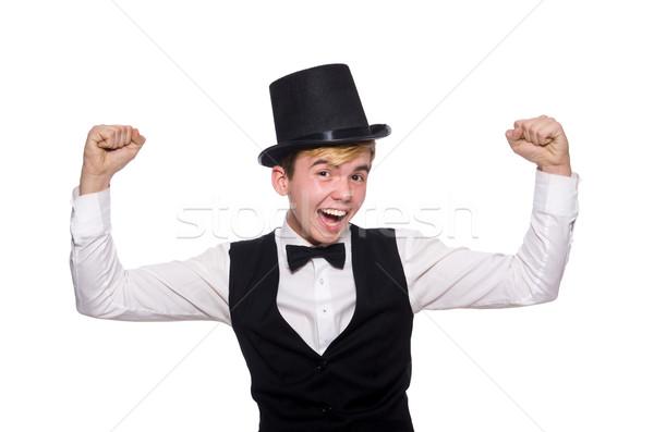 Jonge man zwarte klassiek vest hoed geïsoleerd Stockfoto © Elnur