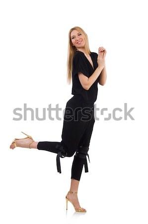 Nő fekete estélyi ruha izolált fehér mosoly Stock fotó © Elnur