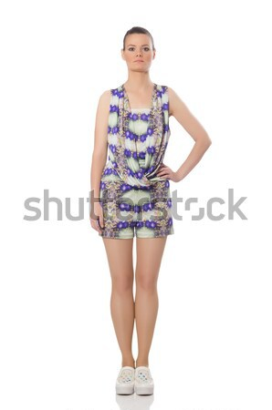 Pretty model wearing purple floral dress isolated on white Stock photo © Elnur