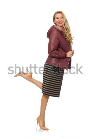 Tall caucasian model in green dress isolated on white Stock photo © Elnur