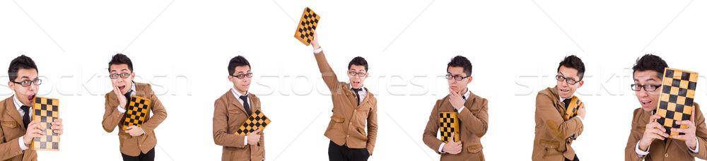Vicces sakk játékos izolált fehér siker Stock fotó © Elnur