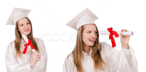 ストックフォト: 女性 · 学生 · 孤立した · 白 · 紙 · 教育