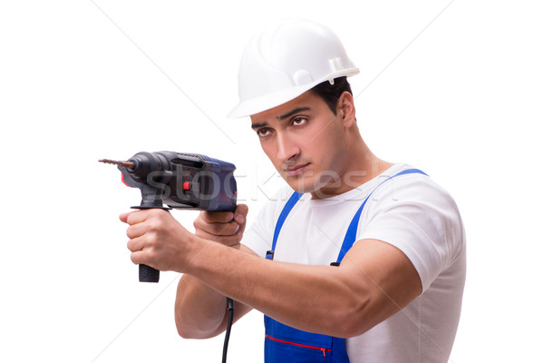 Człowiek wiercenia odizolowany biały człowiek biały ściany Zdjęcia stock © Elnur