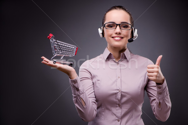 Young sales operator in telesales teleshopping concept Stock photo © Elnur