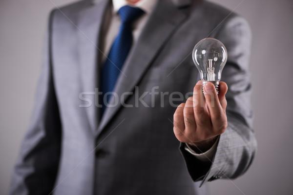 Biznesmen żarówka kreatywność strony świetle Zdjęcia stock © Elnur