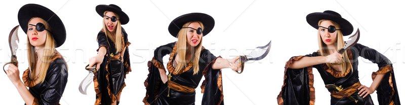 Vrouw piraat witte hand partij Stockfoto © Elnur