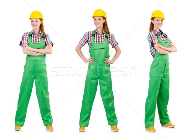 Vrouw groene geïsoleerd witte bouw werk Stockfoto © Elnur