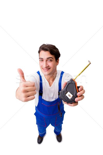Homem fita métrica isolado homem branco branco construção Foto stock © Elnur