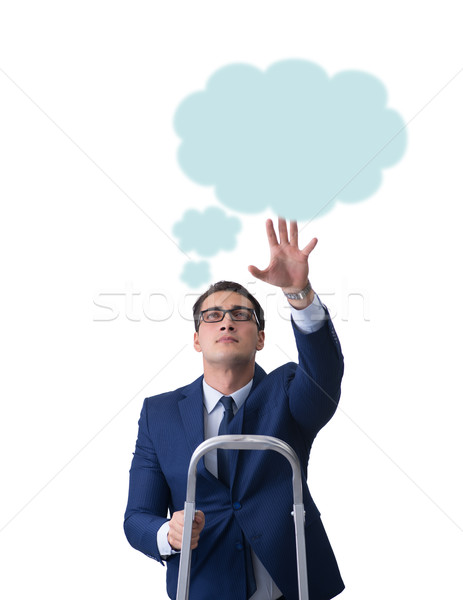 Businessman reaching out to callout message Stock photo © Elnur