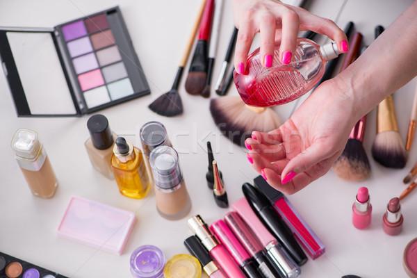 Collectie make-up producten tabel gezicht mode Stockfoto © Elnur
