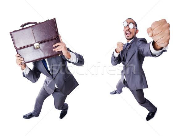 Grappig nerd zakenman geïsoleerd witte achtergrond Stockfoto © Elnur