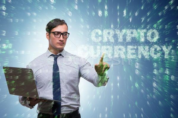 Businessman in blockchain cryptocurrency concept Stock photo © Elnur