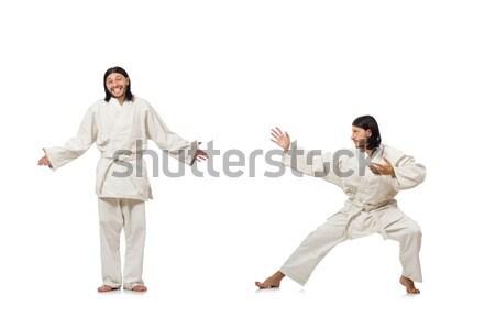 Vicces karate vadászrepülő fehér űr fiatal Stock fotó © Elnur