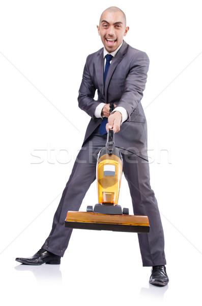 Stock fotó: üzletember · vákuum · takarítás · fehér · ház · férfi
