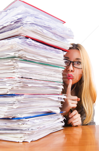Busy woman with stacks of paper Stock photo © Elnur