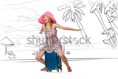 Young airhostess saluting isolated on white Stock photo © Elnur