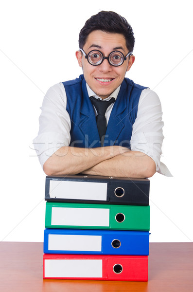 смешные человека белый бизнеса бумаги Сток-фото © Elnur