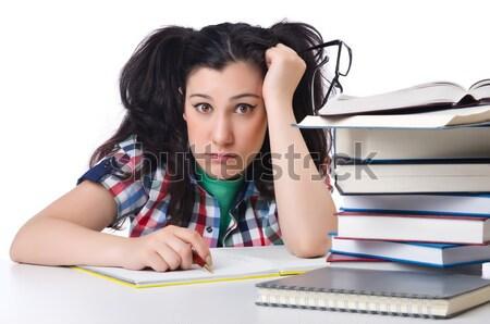 Zmęczony student biały uśmiech książek Zdjęcia stock © Elnur