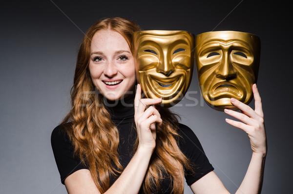 Stockfoto: Vrouw · maskers · grijs · Maakt · een · reservekopie · pak