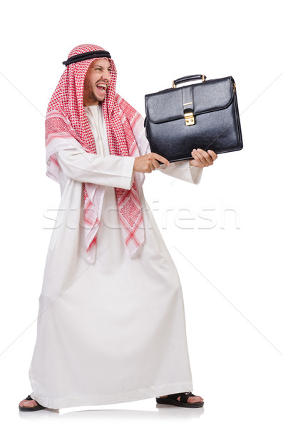 Arab businessman with briefcase isolated on white Stock photo © Elnur