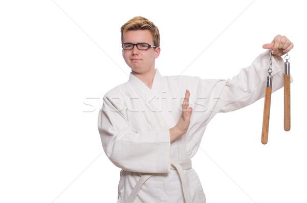 Vicces karate vadászrepülő fehér háttér űr Stock fotó © Elnur