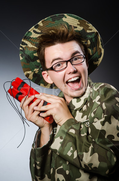 Funny soldier with red dynamite Stock photo © Elnur