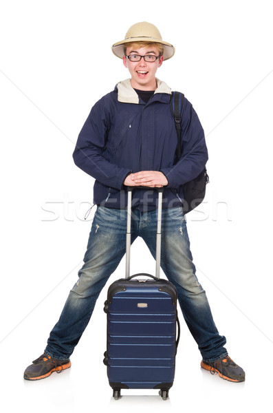 Funny man with luggage wearing safari hat Stock photo © Elnur