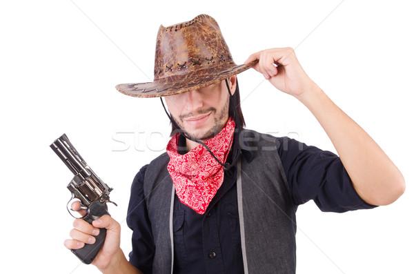 Stock fotó: Cowboy · izolált · fehér · arc · férfi · divat